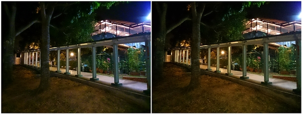 Left: Night shot taken with Normal mode. Right: Night shot taken with Superior Auto. <br> Click image for original version.