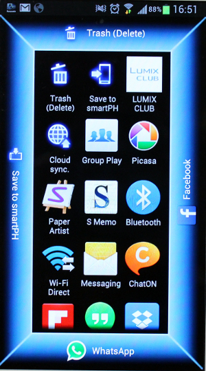 As you can see, we have assigned WhatsApp and Facebook shortcuts to the sharing screen within the Panasonic Lumix app. All you need to do is browse to find your preferred image from the camera via the Lumix app in on your phone, keep your finger on the image and this screen with sharing services will pop up, after which you can drag the image to the respective shortcut to invoke the corresponding service.