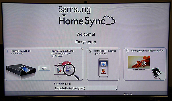 Simply tap the HomeSync device on the top with your NFC-enabled Samsung mobile device and the pairing will be done.
