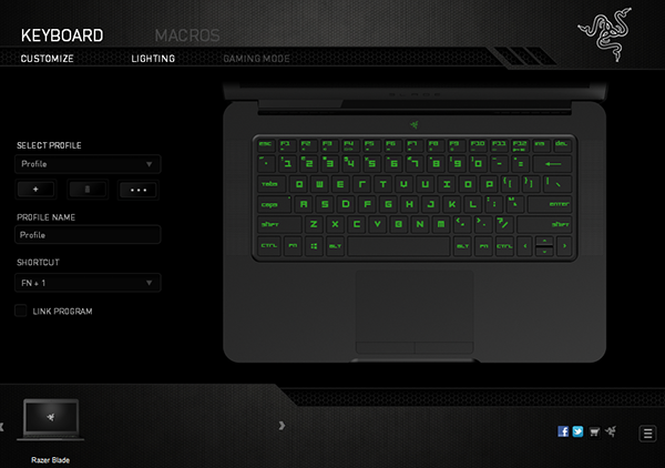 The Razer Blade is preloaded with Synapse 2.0, which lets users rebind keys and assign macros.