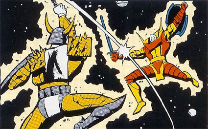 The guy on the right, who vaguely looks like Rodimus Prime, getting his ass kicked? Meet the granddaddy of all Transformers.