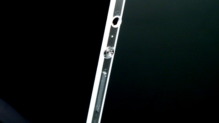 The power button and volume rocker look identical to those on the Xperia mobile devices, and are found on the right side of the machine. There's also a audio combo jack for your headphones.