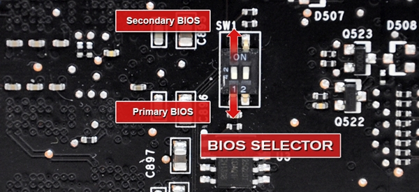 The BIOS selector of one of the supported EVGA GTX 770 graphics cards, which is in the form of a DIP switch. (Image Source: EVGA)