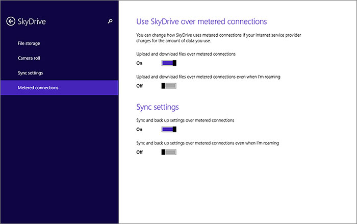Especially for those with capped mobile data plans, you can decide how SkyDrive uses metered connections.