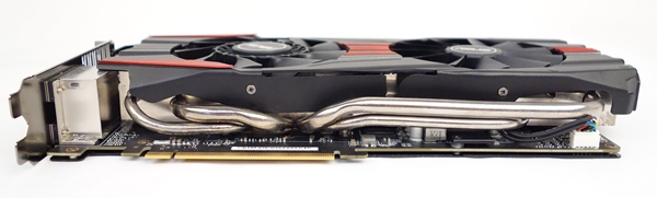 We can see the four 10mm copper heatpipes that are in direct contact with the GPU of the ASUS GTX 780 card.