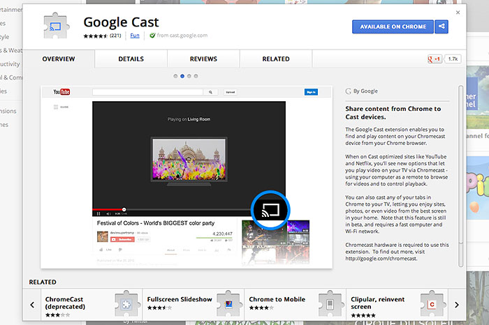 Cast from Chrome : Google Chromecast - A Tiny, Affordable