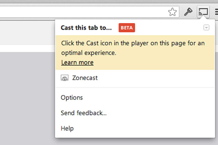 The ability to cast a Chrome tab opens up a wealth of content you can now stream to the TV. If you're on a Cast-optimized site, the extension will remind you to use the controls in the player instead.
