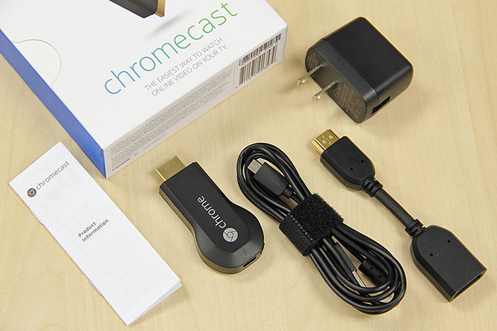 Most of the accessories that come with the Chromecast are longer than the stick itself. They include a fairly long micro-USB-to-USB cable, a short HDMI extension cable (just in case the area around your TV's HDMI port doesn't have enough clearance), and a USB power adapter.
