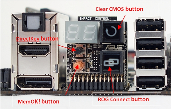 The daughter board, which is located with the rear I/O ports, has a number of buttons for