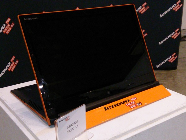 The Lenovo Flex 15 (shown here) and Lenovo Flex 14 are the world's first multi-mode mainstream Ultrabooks.