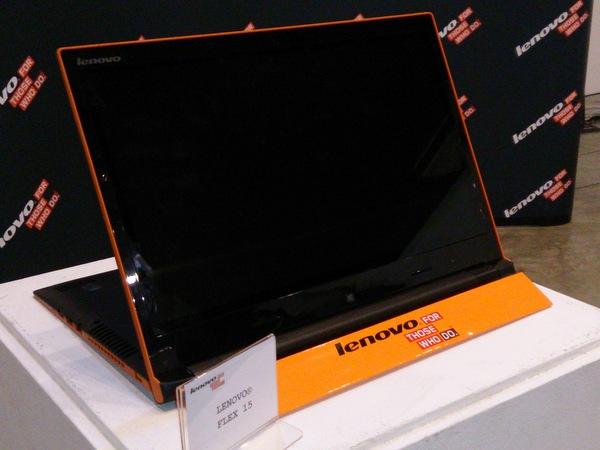 The Lenovo Flex 15 (shown here) and Lenovo Flex 14 are the world's first multi-mode mainstream Ultrabooks.
