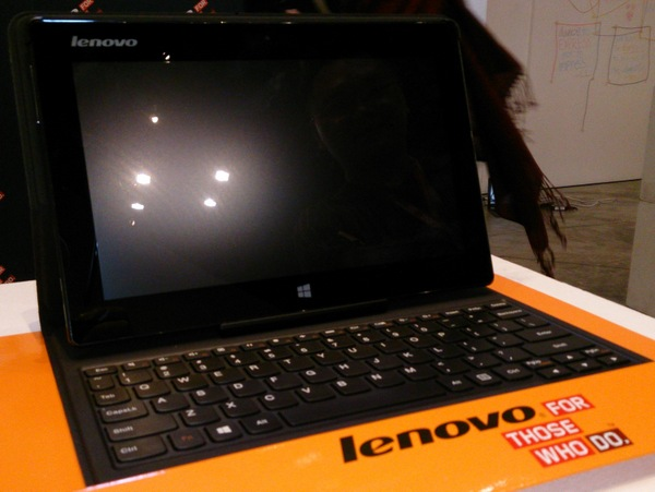 The Lenovo Miix 10.1-inch Windows 8 tablet in a folio case with keyboard.
