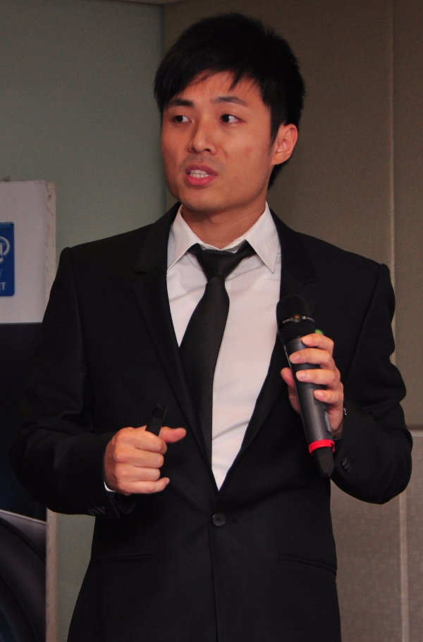 Jerry Yang, Account Manager, ASRock giving his speech about the status of ASRock in the global market.