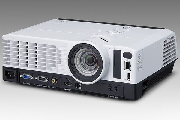 The Ricoh PJ WX3340N is a DLP-based, WXGA projector with a 'desk edge' design, where its interfaces and vents are placed right in front. (Image source: Ricoh.)