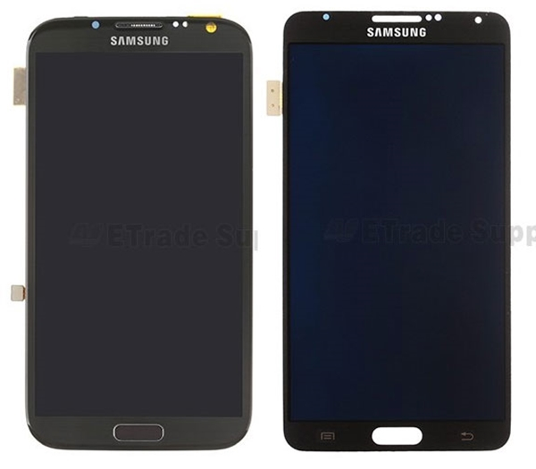 The display panels of the Samsung Galaxy Note II (left) and Galaxy Note III (right).<br>Image source: ETrade Supply