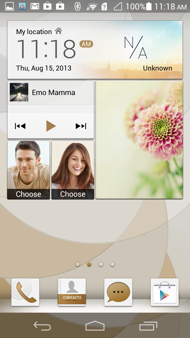 Huawei's 'Me' widget serves as a home page of sorts, displaying your time, weather, messages, contacts and pictures. You can also play music from here.