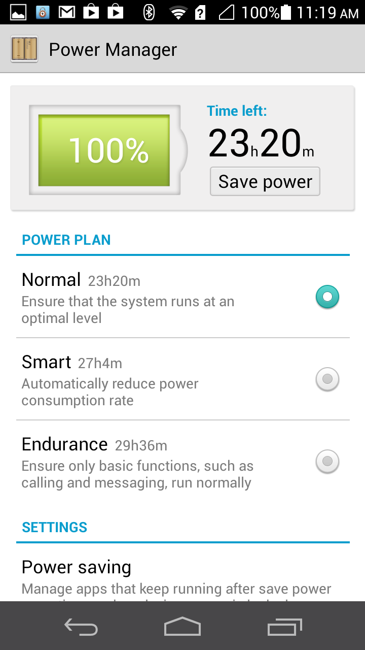 The power manager now tells you the estimated remaining battery life in each setting.
