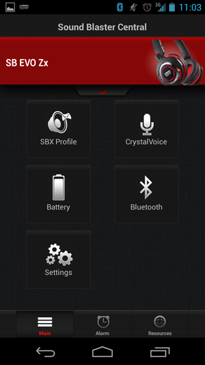 After pairing the Evo Zx, this is the main page for the Sound Blaster Central App.