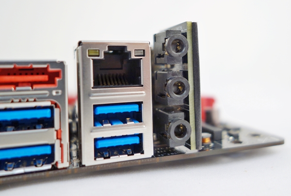 The rear audio ports of the SupremeFX impact sound card.