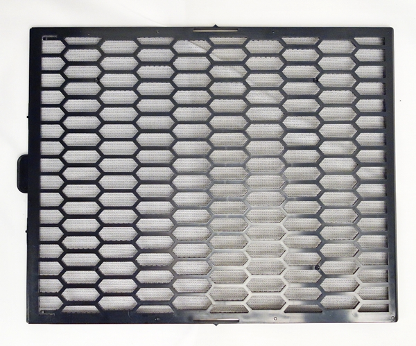 This is the top removable dust filter of the Raven RV04. It has a fine plastic mesh that feels sturdy to touch.