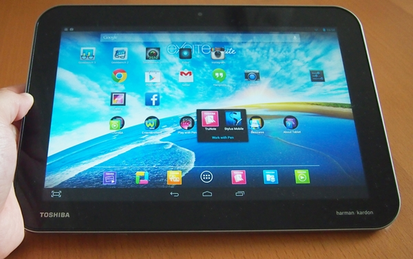 Toshiba adopts an uninspiring design for the Excite Write, which pales in comparison with its rivals such as the Sony Xperia Tablet Z.