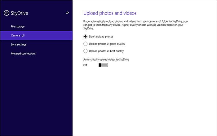 Most devices these days come with a built-in camera. Windows 8.1 allows you to upload your photos and videos to SkyDrive automatically.