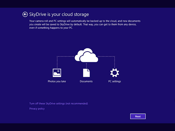 To really take advantage of Windows 8.1 and the cloud, we recommend that you don't turn off these SkyDrive settings during Windows Setup.