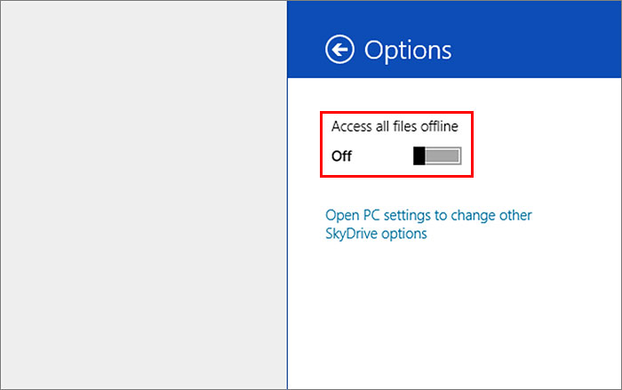 For desktops that have tons of storage space, you may want to make all SkyDrive files available for offline access. The setting is found under the Settings Charm > Options (when you're in the SkyDrive app).