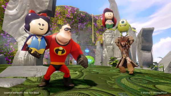 "In Disney Infinity's ""Toy Box"" mode, gamers can mix and match their favorite characters and power-ups as well as create their own custom world"