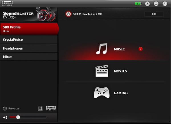 The Sound Blaster Evo Control Panel provides access to three specific profile modes for different usage scenarios.