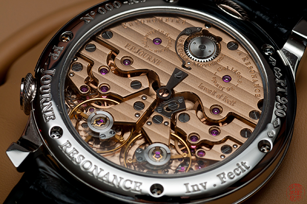 Resonance theory requires two or more escapements to achieve and is a thoroughly complicated mechanism. F.P. Journe is thus far the only watchmaker to achieve this in a wristwatch.