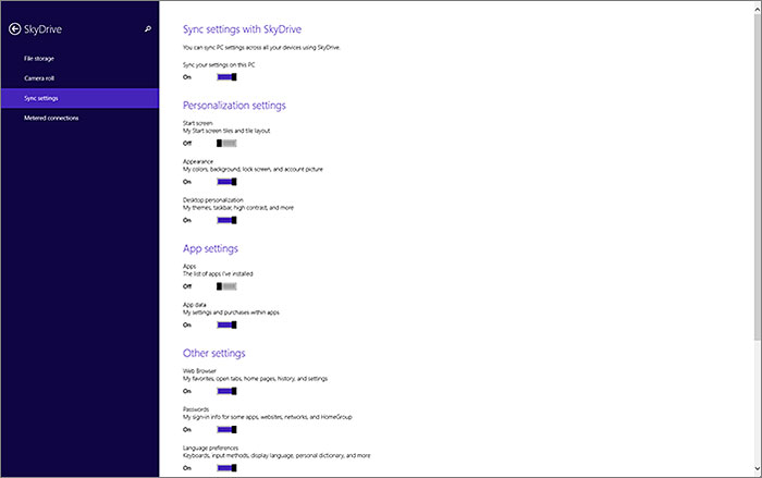 Compared to Windows 8, Windows 8.1 has more sync settings to configure. Thankfully, they're well organized.