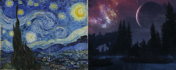 The Starry Night vs. Skyrim. You have to admit both look spectacular don't they?