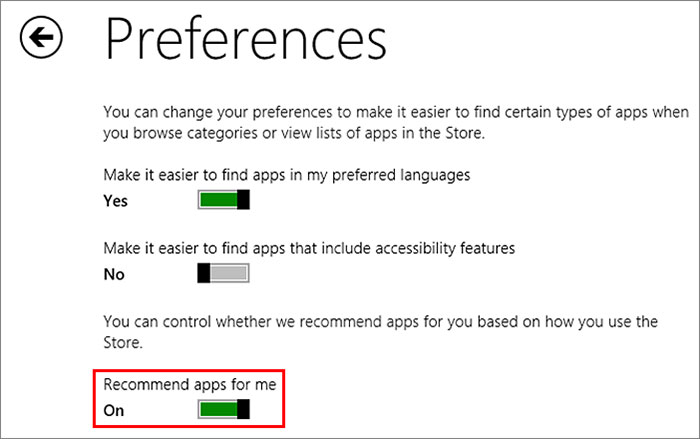 Don't like Windows Store recommending apps to you? You can turn it off.
