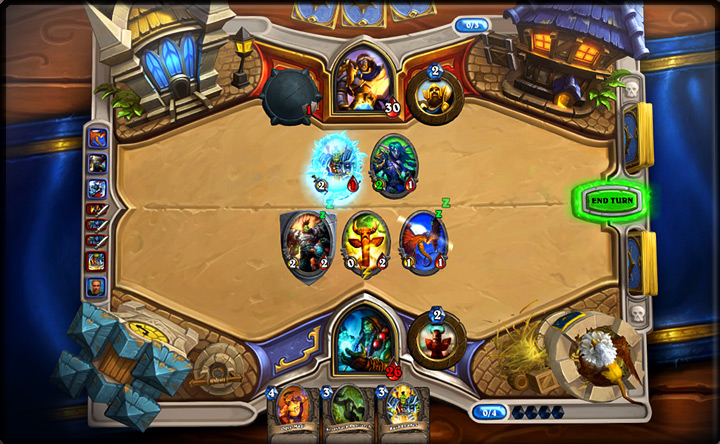 A game in play. Minions are played into the battlefield in the middle. There are four different game boards: Stormwind, Orgrimmar, Pandaria and Stranglethorn Vale.