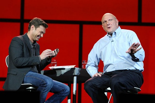 At last year's CES, CEO Steve Ballmer showed off his Windows Phone to Microsoft CES Keynote host Ryan Seacrest.