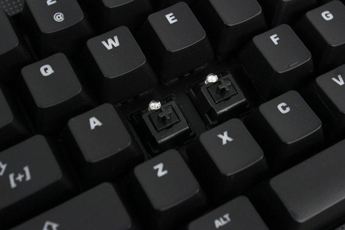 Our unit has Cherry MX Black keys, but Blue, Brown or Red keys are also available for the same price.