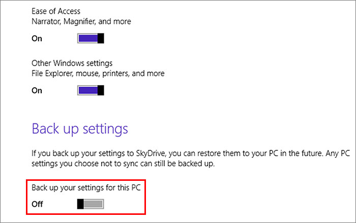 You can also backup settings (even PC settings you choose not to sync) to SkyDrive for future restoration.
