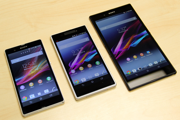 Seen here are the Sony Xperia Z(left), Xperia Z1 (center) and Xperia Z Ultra (right).