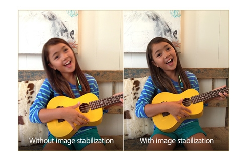 Differences between having image stabilization and none when taking photos. <br> Image source: Apple