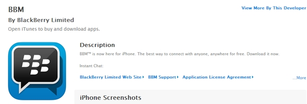 BBM has hit the Apple App Store. (Image source: Apple iTunes.)