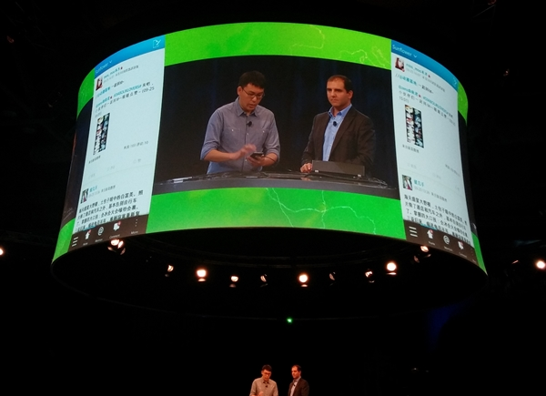Sina Weibo app creator, Sean Sun, was on stage to demonstrate the features of the native app for BlackBerry 10.