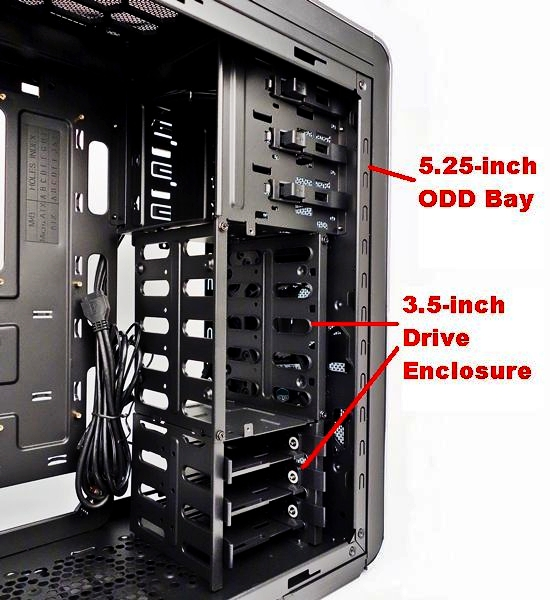 The 2.5-inch drive enclosure can be easily transformed into a 3.5-inch one by moving its side panel to be flush with the fixed 3.5-inch drive enclosure below.