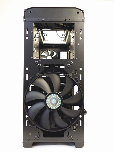 With the covers removed, the 200mm front intake fan dominates the front face of the case.