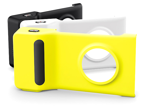 Nokia's optional camera grip adds a more robust shutter button, a grip, a tripod mount, and a secondary battery.