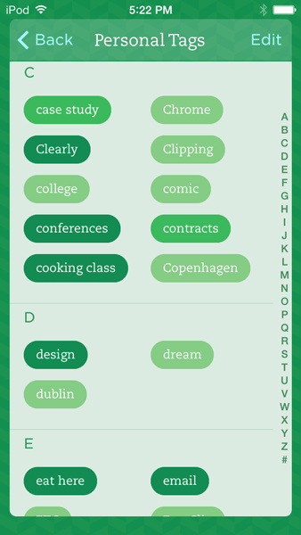 Tags section in Evernote for iOS7.