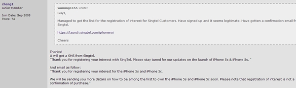 The confirmation email from SingTel. <br> Image source: cheng1