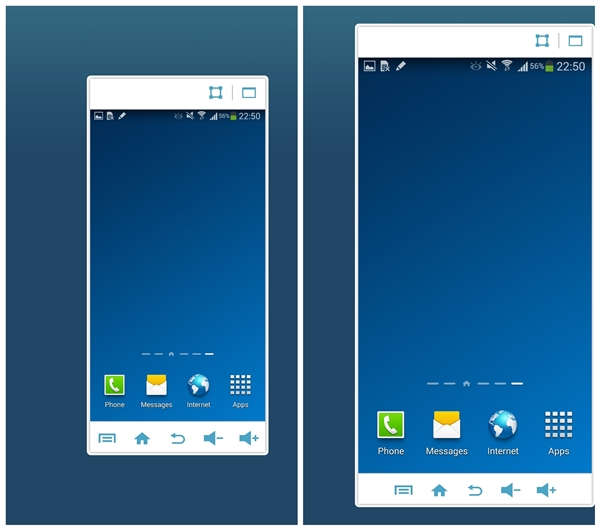 You can adjust the scale of the screen via the square icon, or make it full-screen via the rectangle icon.