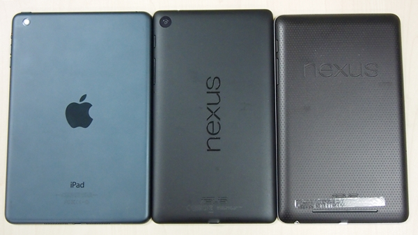 The Nexus 7 (2013) looks more premium and sleeker than its predecessor (right). The Apple iPad mini is still the champ when it comes to build quality and looks.