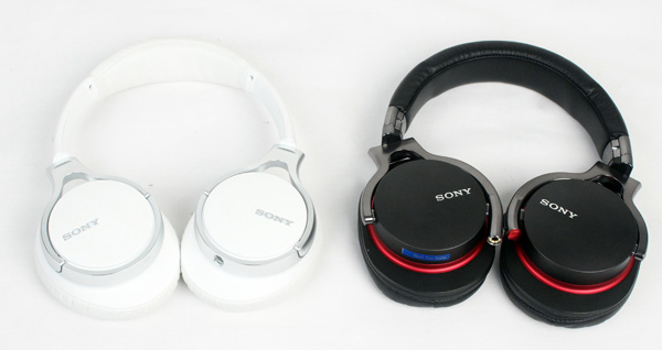 A side by side comparison of the new Sony MDR-10R (left) and the older Sony MDR-1R (right).